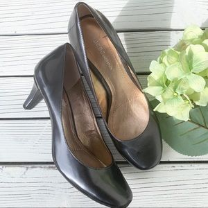 BCBGeneration Gray Patent Leather Kitten Heels